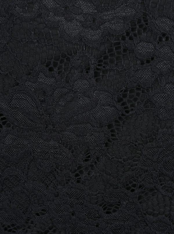 Čierny čipkovaný top s dlhým rukávom VERO MODA Joy
