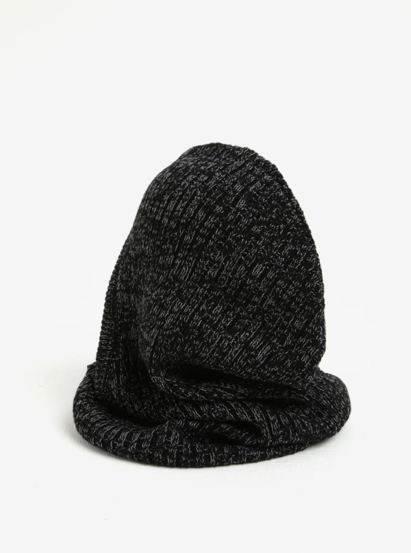 Čierna dámska melírovaná vlnená kukla Calvin Klein Basic