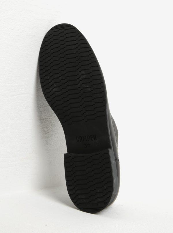 Čierne dámske kožené poltopánky Camper