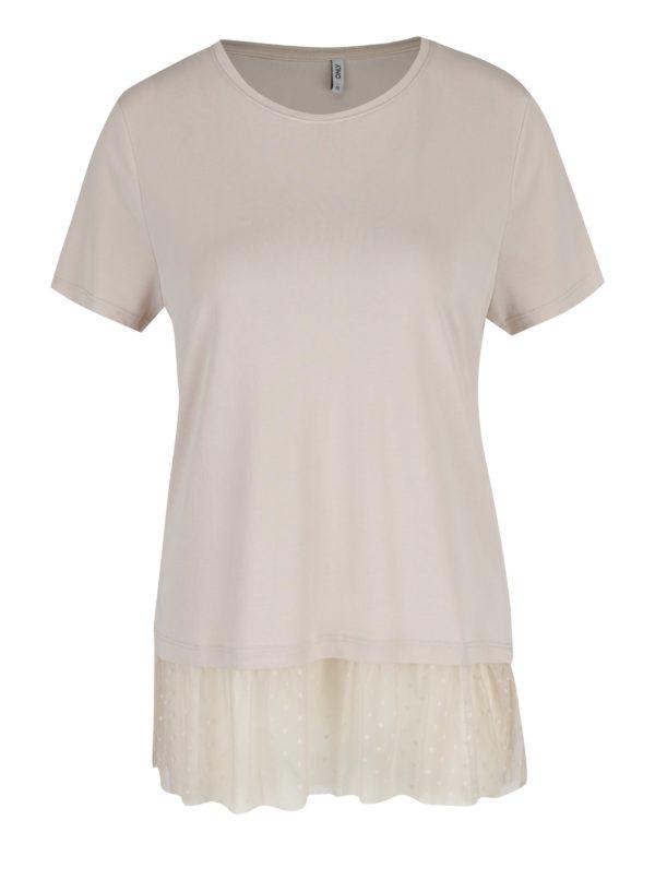 Béžové tričko s tylovým volánom ONLY Mia