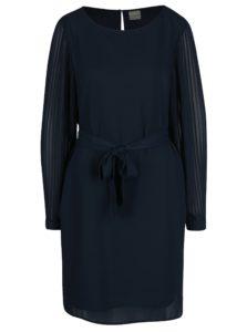Tmavomodré šaty s priesvitnými plisovanými rukávmi Selected Femme Freja