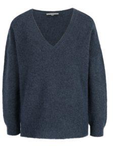 Modrý sveter s prímesou mohéru a vlny Selected Femme Livana