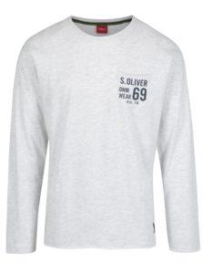 Sivé melírované pánske slim fit tričko s dlhým rukávom s. Oliver