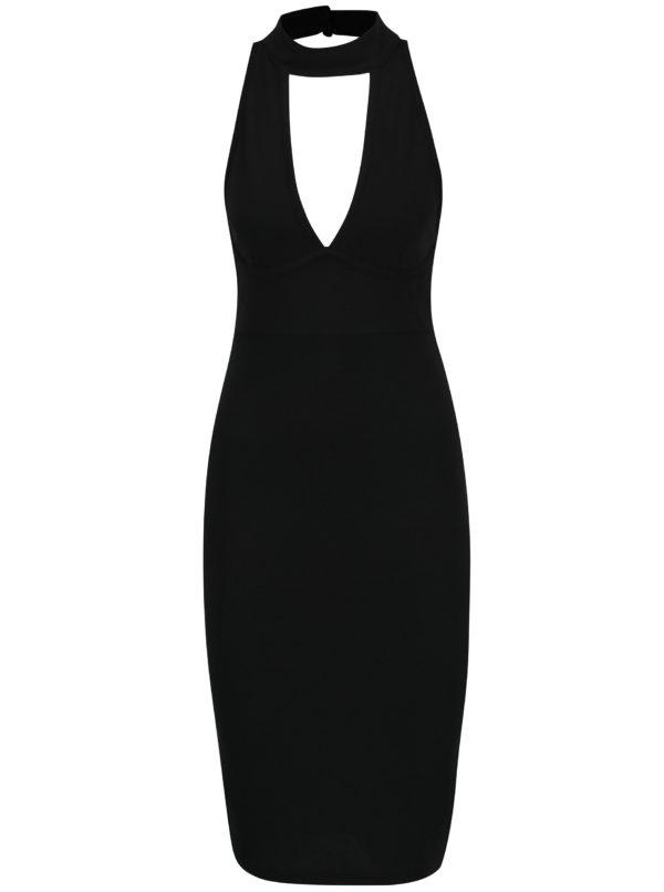 Čierne puzdrové šaty s chokerom a prestrihom v dekolte AX Paris