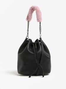 Čierna koženková vaková kabelka s odnímateľnými popruhmi Nalí