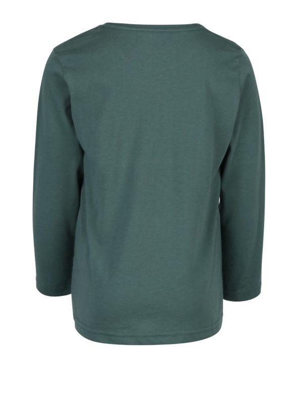 Zelené chlapčenské regular fit tričko s potlačou a dlhým rukávom Quiksilver
