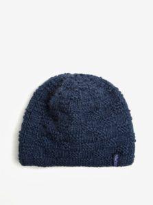 Modrá vlnená pletená čiapka s jemným vzorom Tranquillo Tea