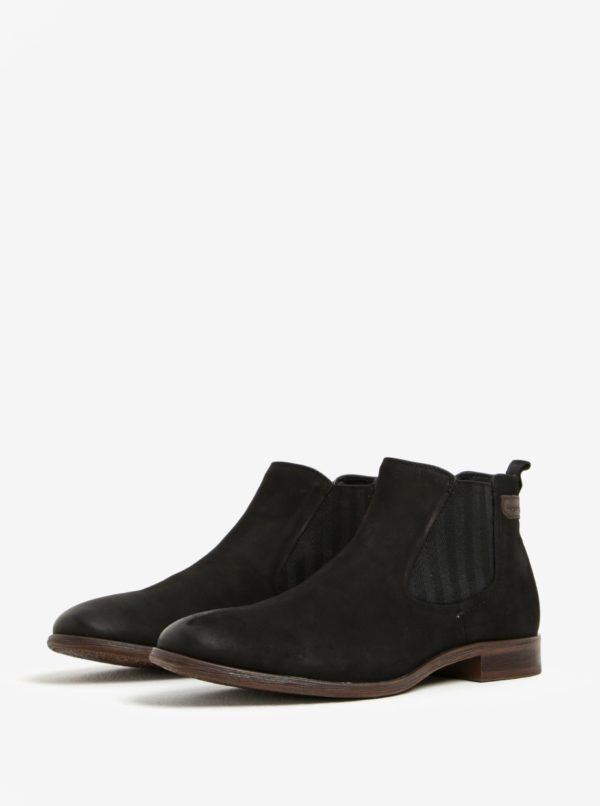 Čierne pánske kožené chelsea topánky bugatti Lothario