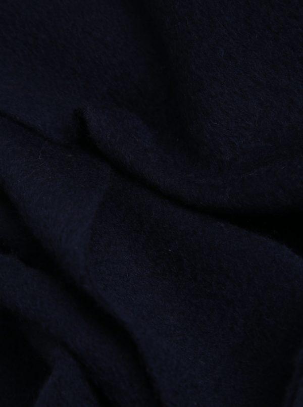 Tmavomodrý vlnený šál so strapcami Lindbergh