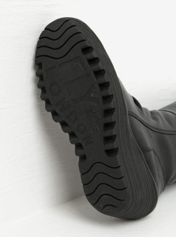Čierne kožené čižmy na platforme Fly London