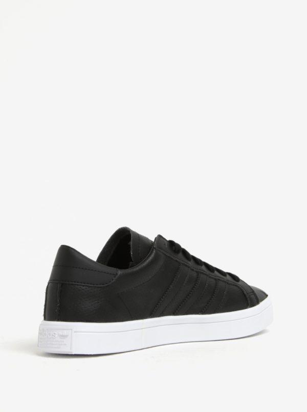 Čierne pánske kožené tenisky adidas Originals Courtvantage