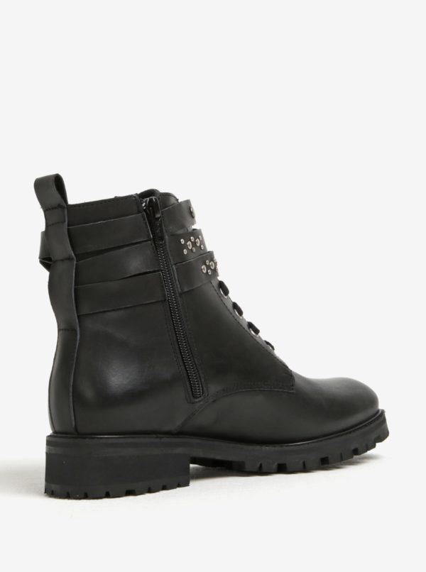 Čierne dámske kožené členkové topánky s plastickými detailmi OJJU