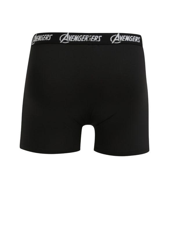 Červeno-čierne pánske boxerky s potlačou Avengers