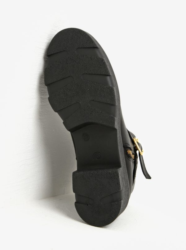 Čierne kožené členkové topánky na platforme OJJU