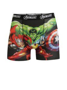 Zeleno-čierne pánske boxerky s potlačou Avengers
