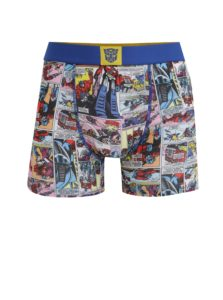 Modré pánske boxerky s potlačou Transformers Freegun