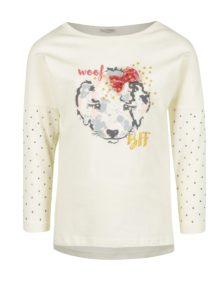 Krémové dievčenské tričko s potlačou a aplikáciou na rukávoch Venere