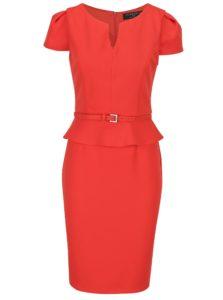 Červené šaty s volánom a opaskom Paper Dolls