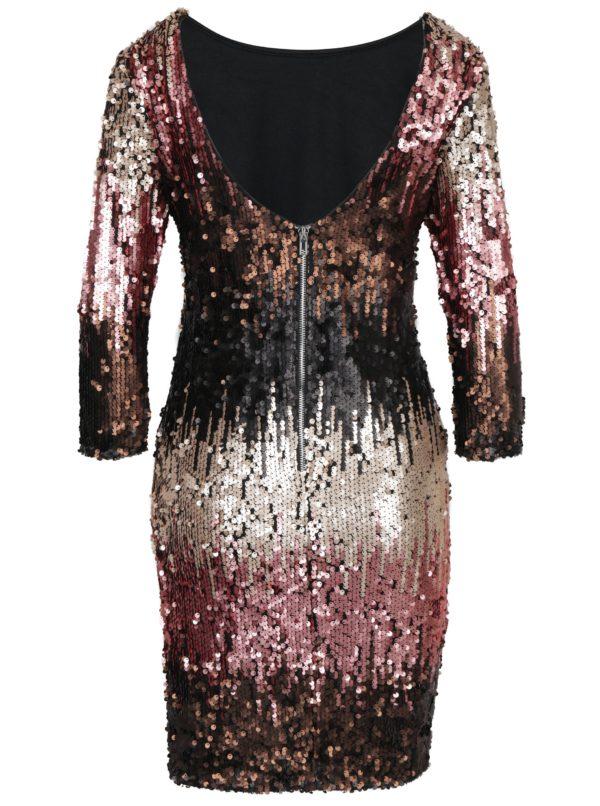 Čierne šaty s farebnými flitrami a 3/4 rukávom Little Mistress