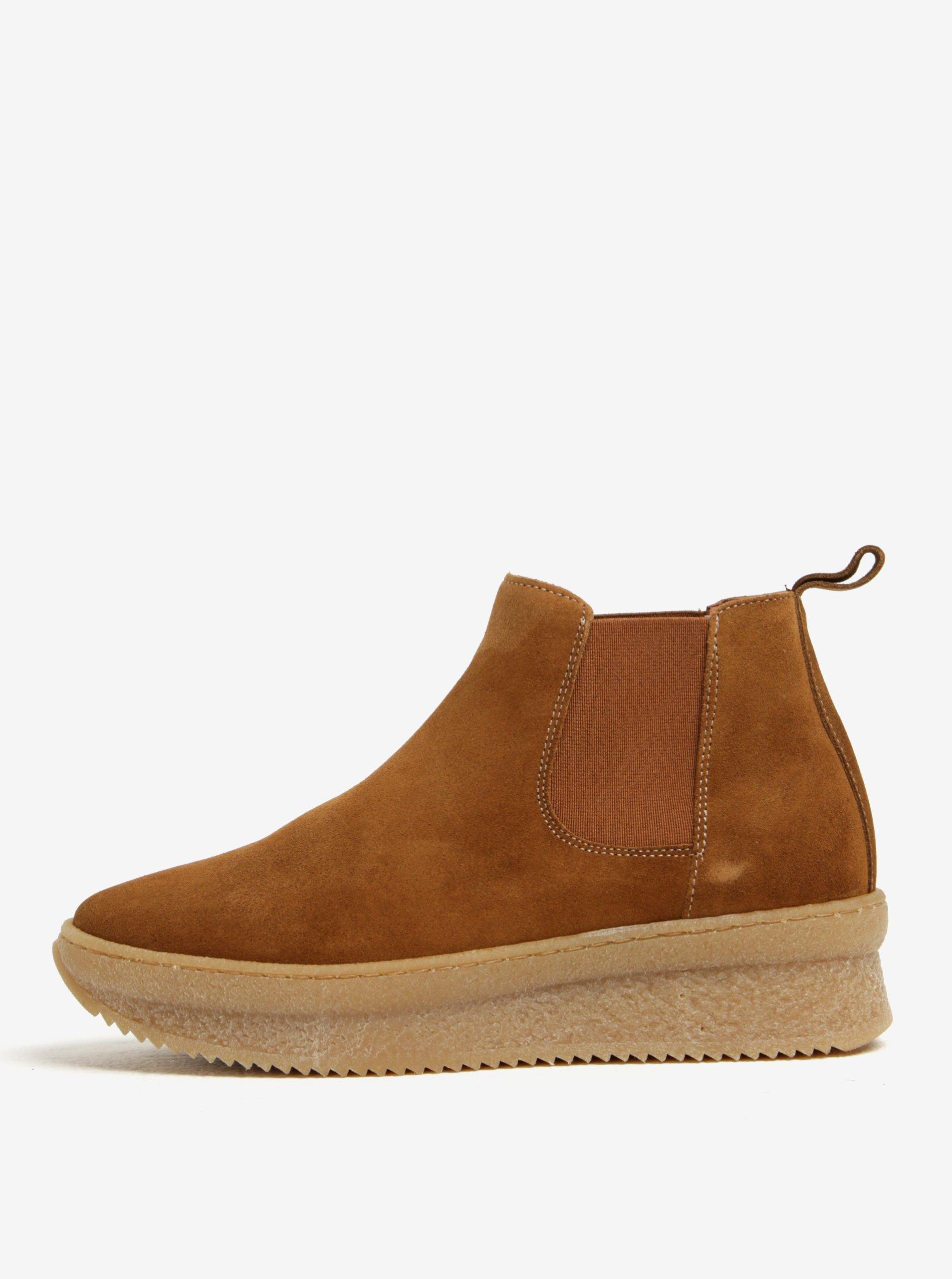 ae7402bc862d Hnedé semišové chelsea topánky na platforme OJJU