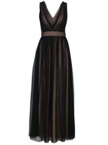 Krémovo-čierne dlhé bodkované šaty Little Mistress