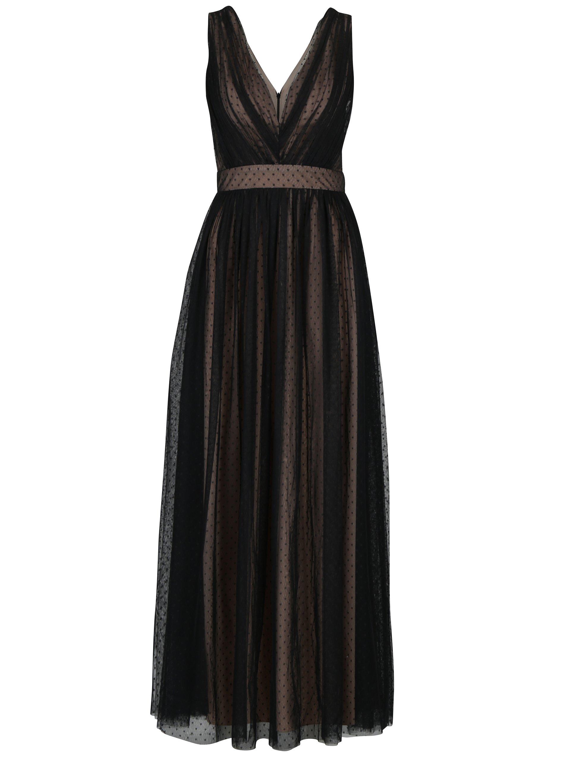 dc59f6aef62b Krémovo-čierne dlhé bodkované šaty Little Mistress