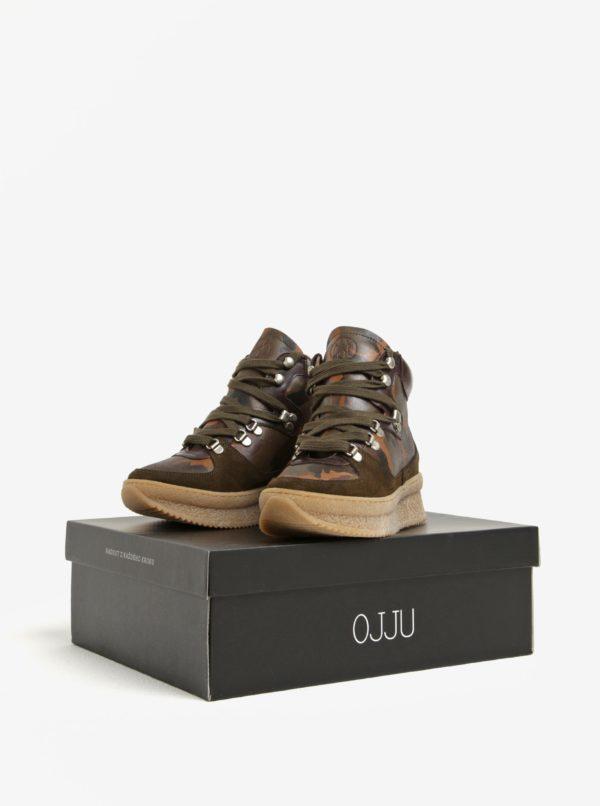Kaki kožené členkové maskáčové topánky na platforme OJJU