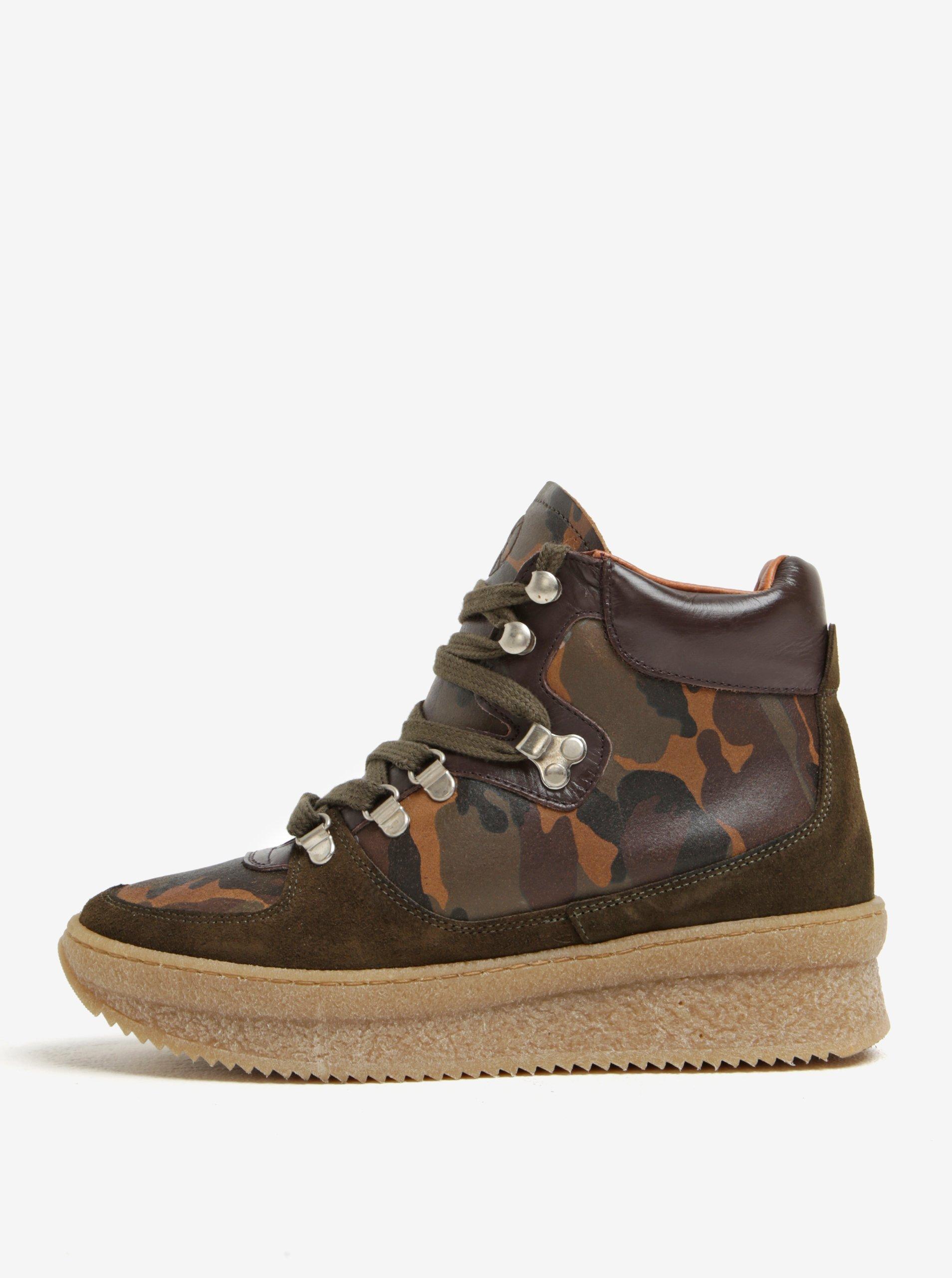 12cf2529b4bb Kaki kožené členkové maskáčové topánky na platforme OJJU