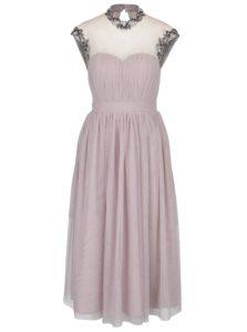Staroružové šaty s priesvitným dekoltom a výšivkou Little Mistress