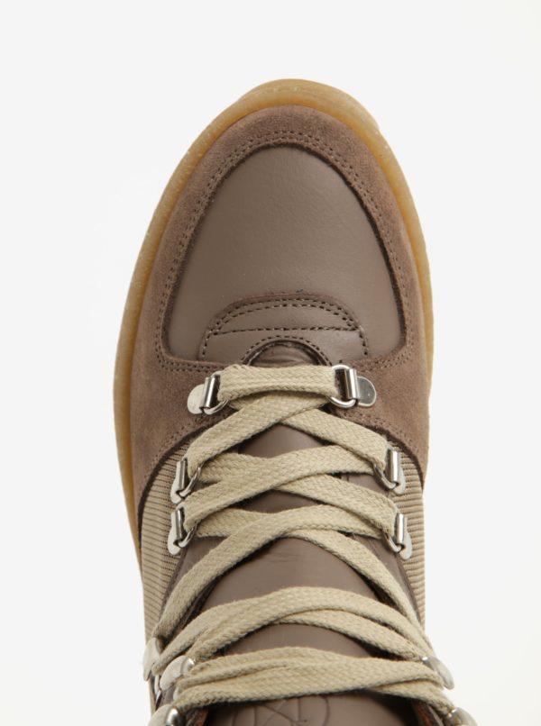 Svetlohnedé členkové topánky na platforme so semišovými detailmi OJJU