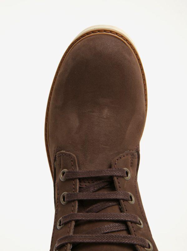 Tmavohnedé dámske kožené členkové topánky Weinbrenner