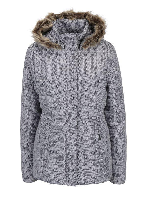 Čierno-krémová dámska zimná vodoodpudivá prešívaná bunda s kapucňou LOAP Tamda