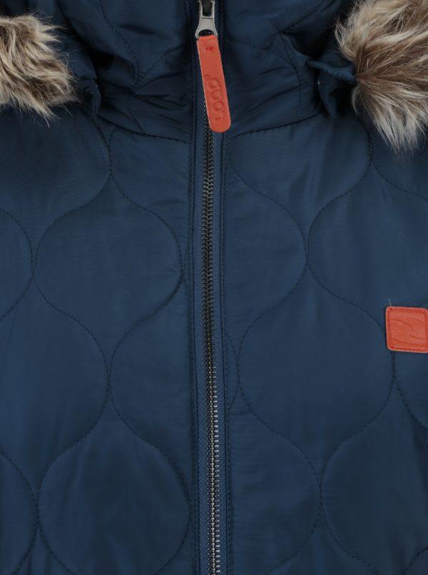Tmavomodrý dámsky vodoodpudivý prešívaný kabát s umelým kožúškom LOAP Tonka