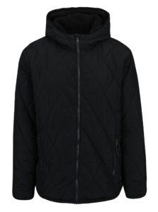 Čierna pánska zimná vodoodpudivá prešívaná bunda s kapucňou a umelým kožúškom LOAP Totem