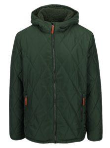 Zelená pánska zimná vodoodpudivá prešívaná bunda s kapucňou a umelým kožúškom LOAP Totem