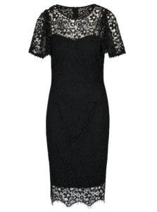 Čierne čipkované šaty krátkym rukávom Paper Doll