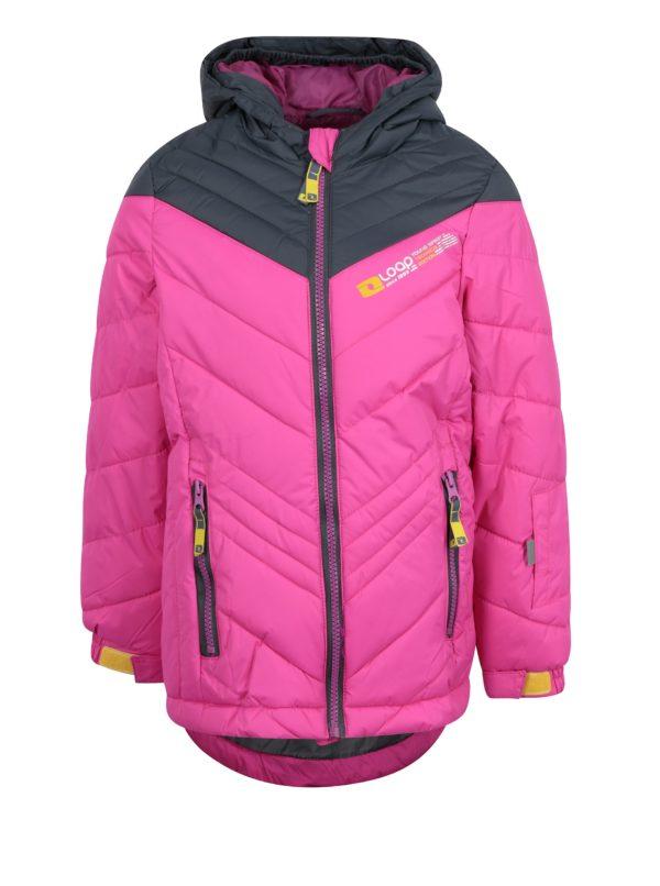 Ružová dievčenská zimná funkčná vodovzdorná bunda LOAP Omrava
