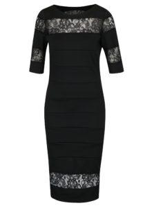 Čierne puzdrové šaty s čipkou Paper Dolls