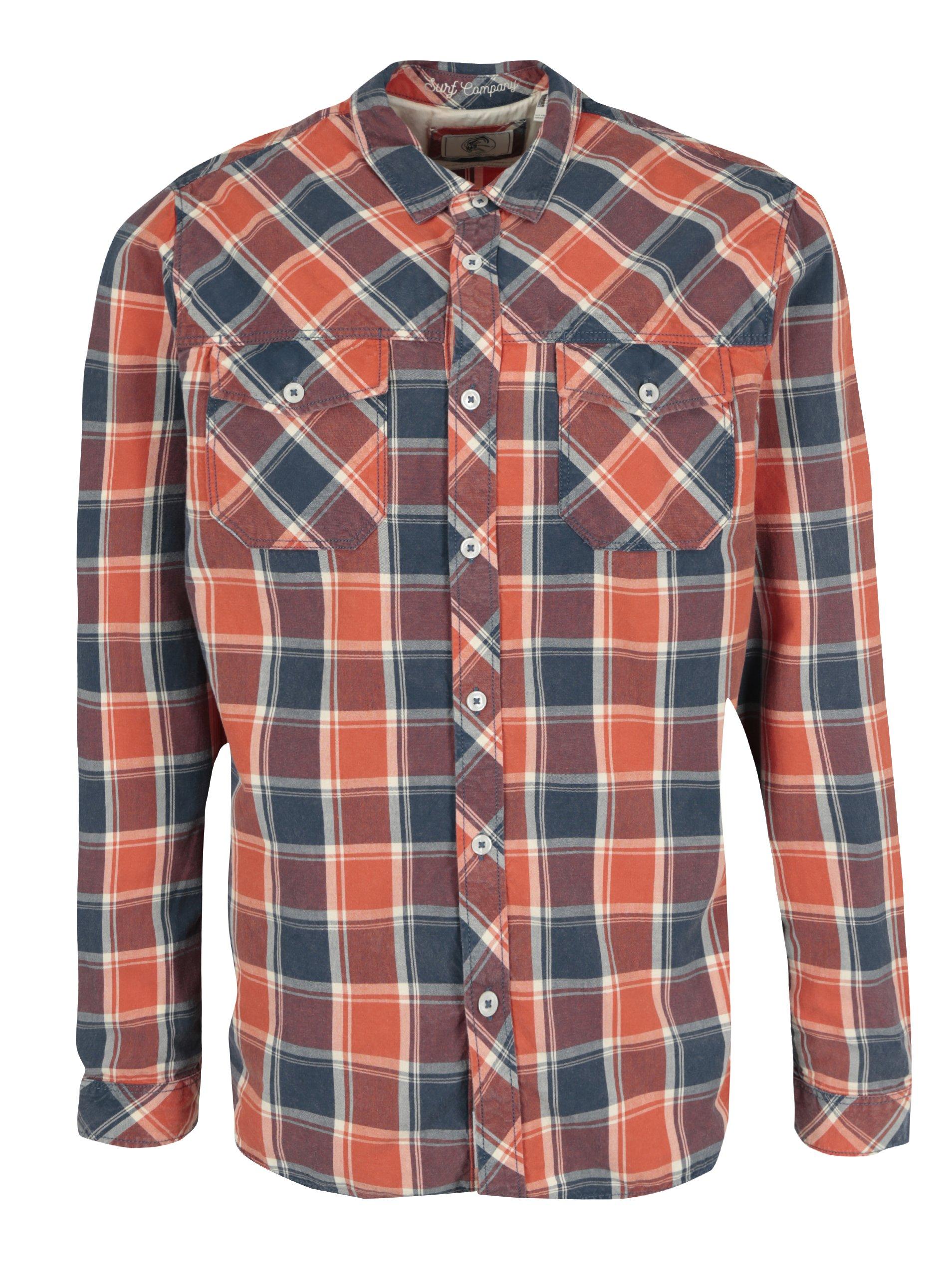 ef749a07288a Modro-červená pánska kockovaná regular fit košeľa O Neill