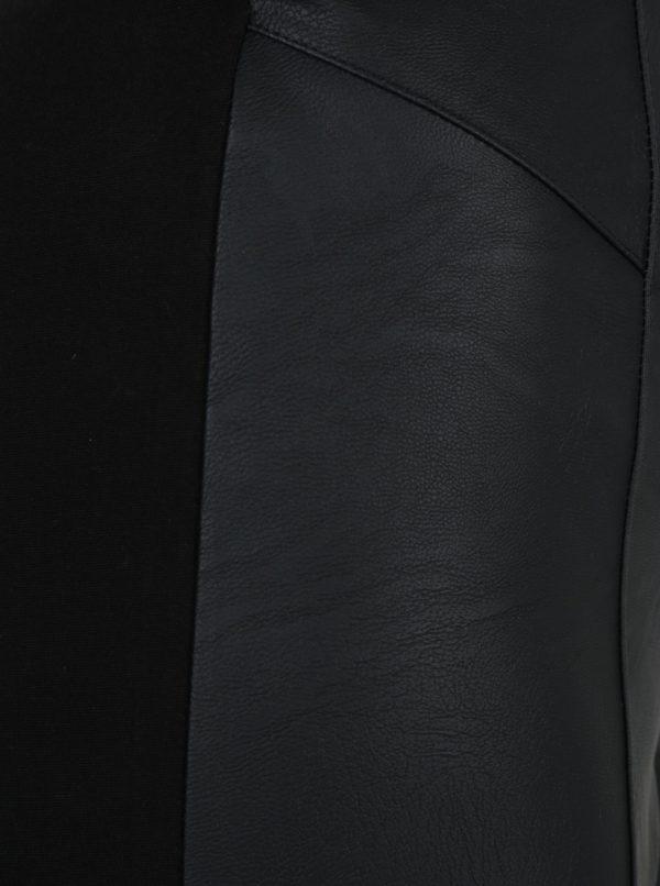 Čierne dámske legíny s koženkovou prednou časťou M&Co