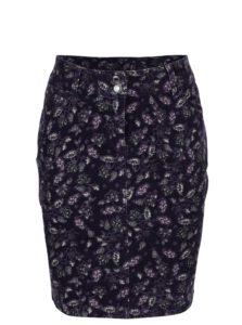 Fialová kvetovaná menčestrová sukňa M&Co
