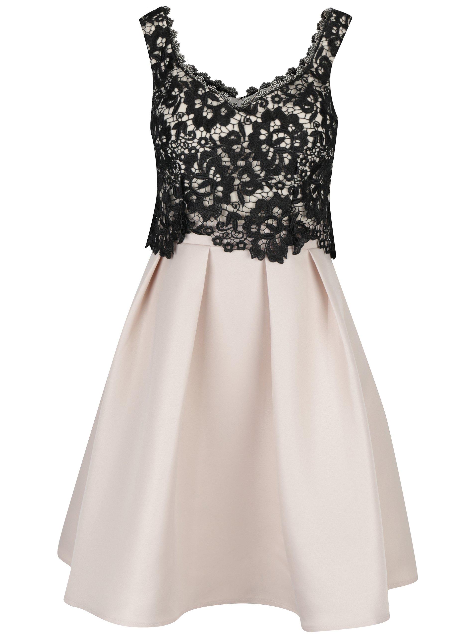 e1550e61d763 Béžovo-čierne šaty s čipkovaným topom Little Mistress