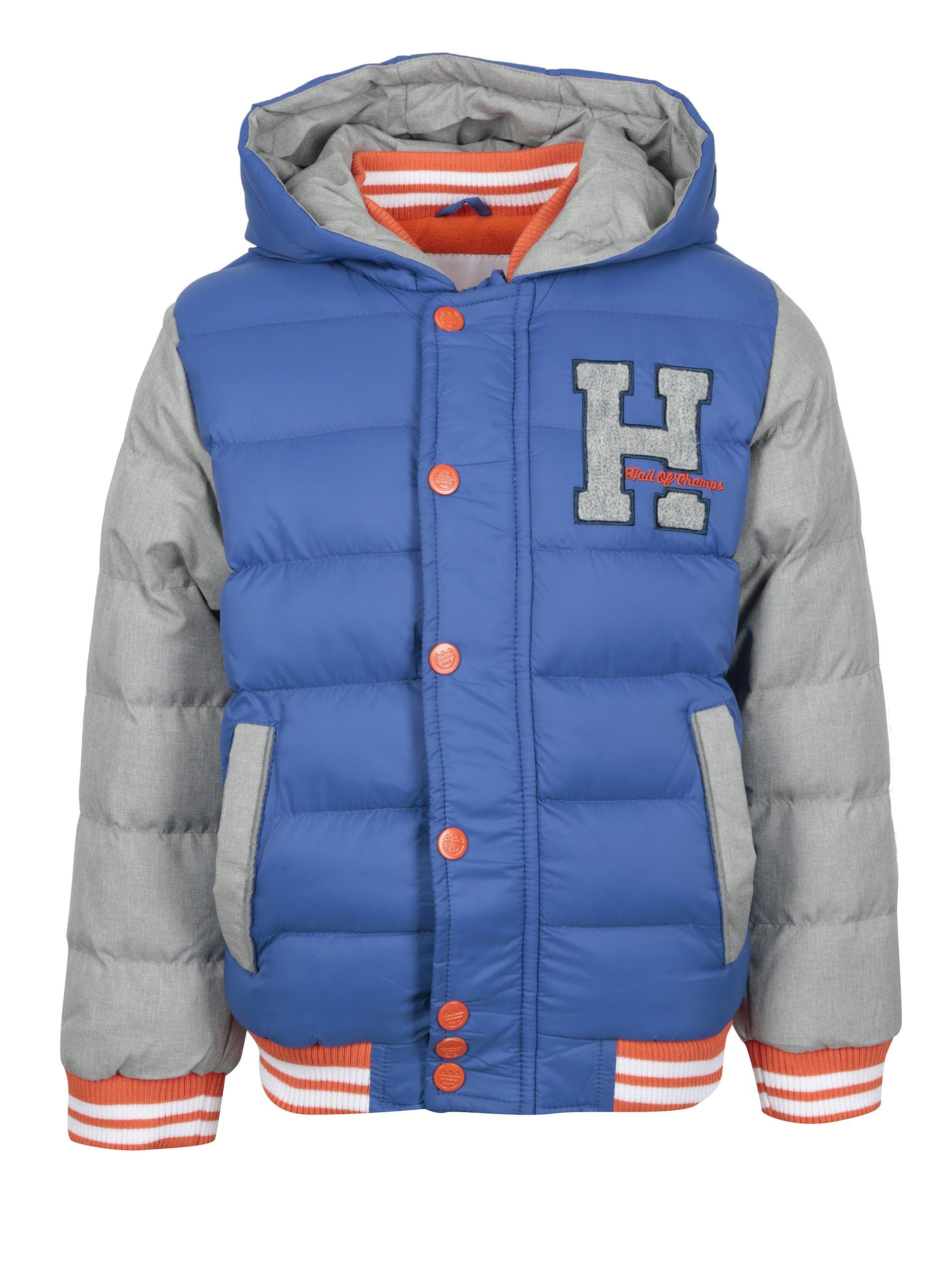 2c6e592af Sivo-modrá chlapčenská prešívaná zimná bunda s kapucňou 5.10.15 ...