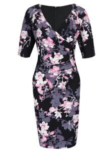 Čierne puzdrové kvetinové šaty Paper Dolls