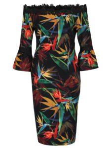 Čierne kvetinové puzdrové šaty s odhalenými ramenami Paper Dolls
