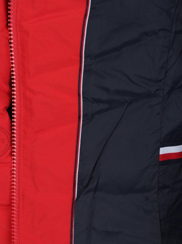 Červená dámska vodovzdorná páperová bunda Tommy Hilfiger Cress Down