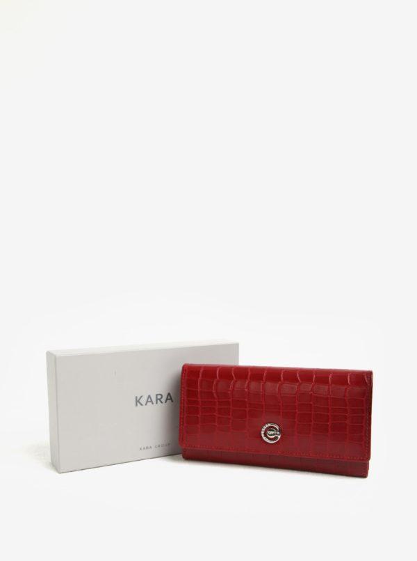 Červená dámska vzorovaná kožená peňaženka KARA