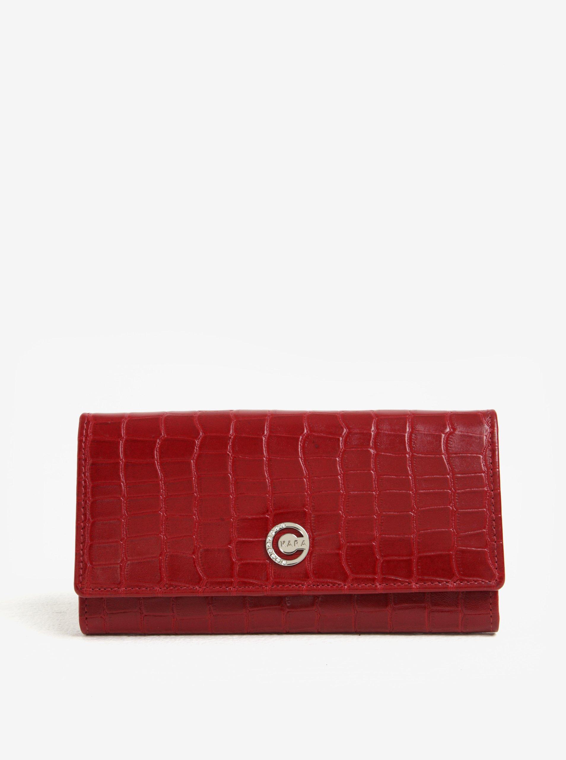 1cc4c5851ba1 Červená dámska vzorovaná kožená peňaženka KARA