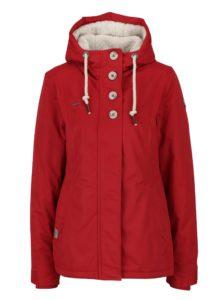 Červená dámska bunda s kapucňou a gombíkmi Ragwear Lynx