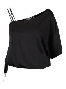 Čierne lesklé asymetrické tričko s mašľou Dorothy Perkins Petite
